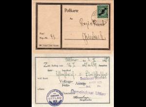 DR 1925, 5 Pf. auf Gemeinde Karte v. UTTLAU m. Bürgermeister Unterschrift