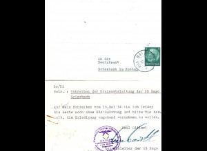 DR 1934, 6 Pf. auf NS Hago Karte v. BAYREUTH m. Gauamtsleiter Unterschrift