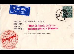 Irland 1934, GB 4d auf Luftpost Brief v. Belfast m. Deutschland.