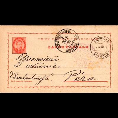 Portugal 1891, 20 C. Ganzsache v. Coimbra n. Pera Constantinopel Dt. Post Türkei