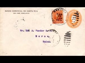 Costa Rica 1915, 5 C. auf 5 C. Bank Ganzache Brief v. San José i.d. Schweiz