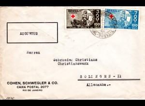 Brasilien 1935, 300+700 R. Rotes Kreuz auf Firmen Brief n. Deutschland