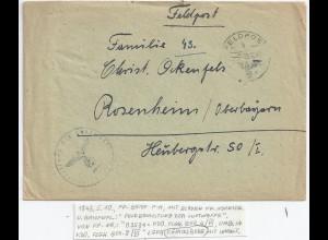 DR Feldpost 1943, 03534 Luftgau PA Königsberg, Brief m. Inhalt n. Rosenheim. #99