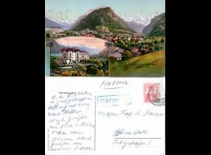 Schweiz, Wilderswil m. Hotel Schönbühl, 1910 gebr. Farb-AK m. blauem Rahmenstpl.
