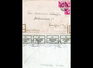 Schweiz 1938, 3x10 C. auf Brief v. Neuhausen m. DR Devisenzensur v. Frankfurt