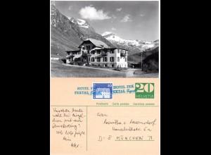Schweiz, Hotel Fex, Fextal, Engadin, sw-AK u. Ganzsache m. blauem Hotel Stpl.