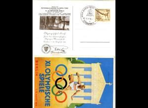 DR 1936, XI. Olympische Spiel Berlin, Farb AK m. entsprechendem Sonderstempel
