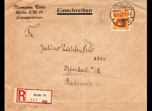 DR 1922, Custos Maschinenstempel auf Einschreiben Brief v. Berlin.