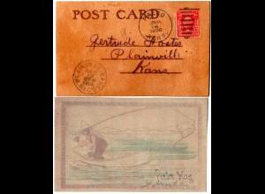 USA, Leder-AK m. Angel Motiv, 1906 gebr. v. Palco Kansas