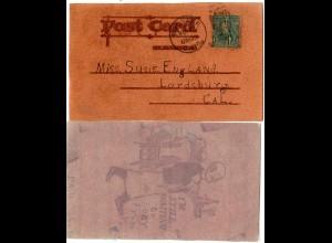 USA, Leder-AK m. Gaststätte Motiv, 1906 gebr. v. Wooster Ohio