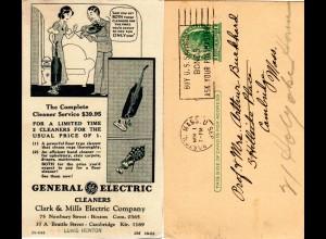 USA 1935, 1 C. Ganzsache ab Boston m. rücks. Zudruck Haushalt Staubsauger