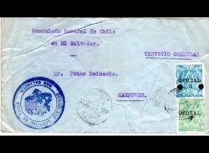 El Salvador, 5/17+12 C. Dienst auf Chile Konsulats Brief n. Deutschland