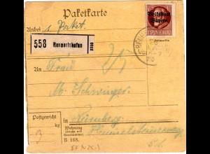 Bayern 1920, EF 75 Pf. Volksstaat auf Paketkarte v. RENNERTSHOFEN