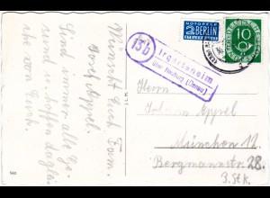 BRD 1954, Landpost Stpl. 13b IRGERTSHEIM über Neuburg auf Karte m. 10 Pf.