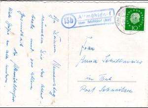 BRD 1962, Landpost Stpl. 13b ALTMÜHLDORF über Mühldorf auf Karte m. 10 Pf.