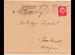 DR 1936, Maschinen Werbestpl. Ruhe u. Erholung in Donauwörth auf Brief m. 12 Pf.