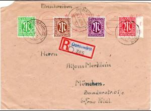 1946, 5+10+12+15 Pf. portorichtig auf Einschreiben Brief v. DONAUWÖRTH.