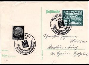 DR 1940, Karte m. Sonderstpl. 1. Postwertzeichen Ausstellung f.d. Dt. Rote Kreuz