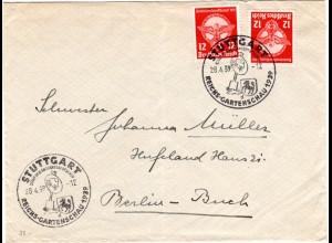 DR 1939, MeF 2x12 Pf auf Brief m. Sonderstpl. Stuttgart Reichs-Gartenschau