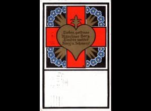 München, Rotes Kreuz Sammel-Komitee, 1915 gebr. Farb-AK