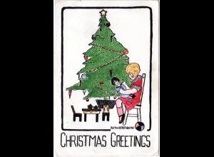 Weihnachten, Christmas Greetings, v. Ruth Osterberg handgemalte Karte