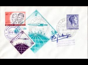 NL 1961, ungez. Raketenpost Marke auf Brief m. Cachet u. Unterschrift de Bruijn