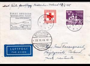 Schweden 1945, Erstflug Brief Stockholm-New York, Etappe bis Reykjavik, Island