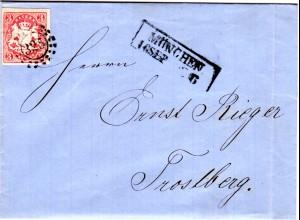 Bayern 1866, breitrandige 3 Kr. auf Brief m. klarem oMR 325 München n. Trostberg