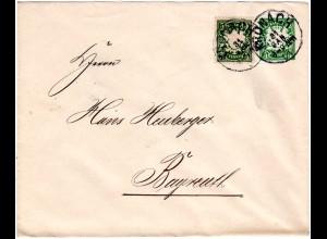 Bayern 1901, 5 Pf. auf 5 Pf. Privat Ganzsache Brief v. Kronach n. Bayreuth