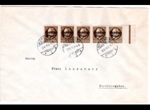 Bayern 1919, 5er-Streifen 3 Pf. Volksstaat auf portorichtigem Brief v. München
