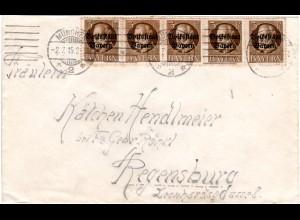 Bayern 1919, 5er-Streifen 3 Pf. Volksstaat auf portorichtigem Brief v. München 2