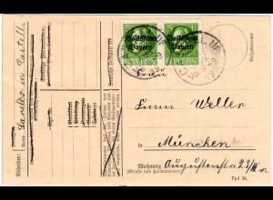 Bayern 1919, MeF Paar 5 Pf. Volksstaat auf Postkarte v. CASTEL Uf.