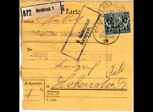 Bayern 1919, EF 60 Pf. Dienst auf Paketkarte v. HERSBRUCK