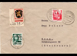 1947, 12 f m. eingestempelter Bogenrandnummer u. 2 andere Marken auf Brief