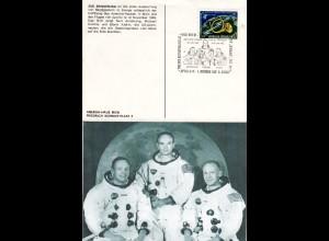 Apollo 11, 1. Mensch auf dem Mond, Österreich Erinnerungskarte m. Sonderstempel