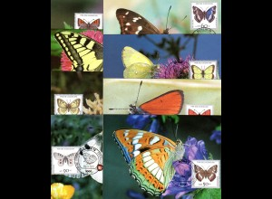 BRD 1991, Schmetterlinge komplett auf 8 versch. Maximumkarten