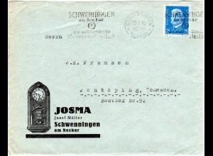 DR 1930, EF 25 Pf. auf Brief m. Uhrenstadt Stpl. v. Schwenningen n. Schweden