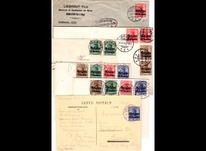 Dt. Besetzung Belgien, kl. Partie m. 6 Briefen u. Karten, u.a. Zensur u. 1 AK
