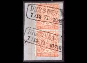 NDP, Paar 1/2 Gr. auf schönem Briefstück m. nachverw. Sachsen R2 DRESDEN V