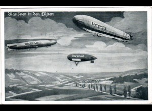 Zeppelin, Parseval u. Schütte-Lanz Manöver i.d. Lüften, 1915 gebr. sw-AK