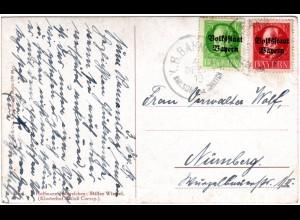 Bayern 1919, Bahnpost K1 SMLSDF IV SCHNTTCH auf Karte m. 5+10 Pf.Volksstaat