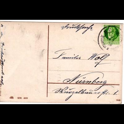 Bayern 1918, Bahnpost K1 SCHNTTCH I SMLSDF auf Karte m. 5 Pf.