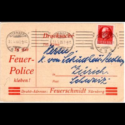 Bayern 1920, 10 Pf. auf Feuer Police Karte v. Nürnberg