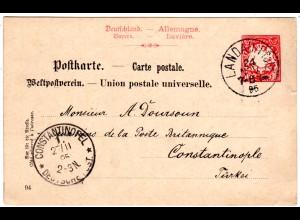 Bayern 1895, 10 Pf. Ganzsache v. LANDAU i. Pfalz i.d. Türkei