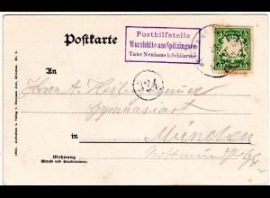 Bayern 1904, Posthilfstelle Wurzhütte am Spitzingsee Taxe Neuhaus b. Schliersee