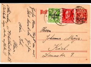 Bayern 1920, 10 Pf. in Mischfrankatur auf DR Ganzsache m. Zusatzfr. v. München