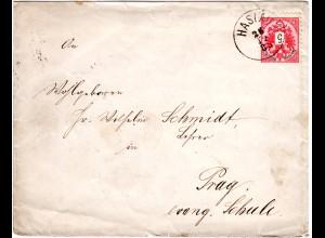 Österreich 1885, Böhmen-K1 HASLAU auf Brief m. 5 Kr.