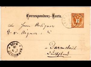 Österreich 1886, Oberösterreich-K1 EBERSCHWANG auf Ganzsache v. Hohenzell