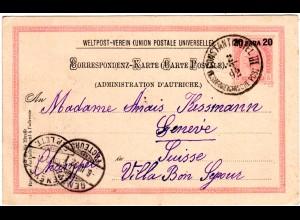 Österreich Levante 1892, 20 P. Ganzsache, sauber gebr. v. CONSTANTINOPEL III