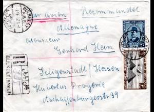 Ägypten 1937, 3+50M. auf Reko Luftpost Brief v. BULKLEY n. Deutschland